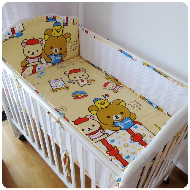 ¡ Promoción! 5 unids malla de algodón oso baby bedding set cuna bedding set para niñas de dibujos animados ropa de cama, incluye (4 bumpers + hoja)