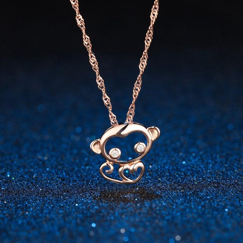 DOUBLE-R Niedlichen Affen Anhänger Damen 0.02ct Diamant 925 Silber Rose Gold Halsketten Romantische Feine Schmuck Maßgeschneiderte CAP03760SA-3