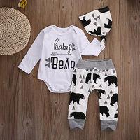 Newborn Set Toddler Baby Girls Boys Autumn Cotton Beige Long Sleeve Bear 3PCS Romper Long Pants