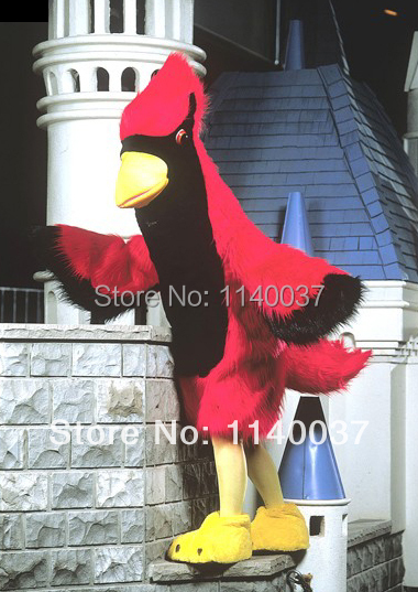 mascot Red Parrot Cardinal Mascot Costume Adult Size Red Birds Mascotte Outfit Suit Stage Props Party Cosply Fancy Dress