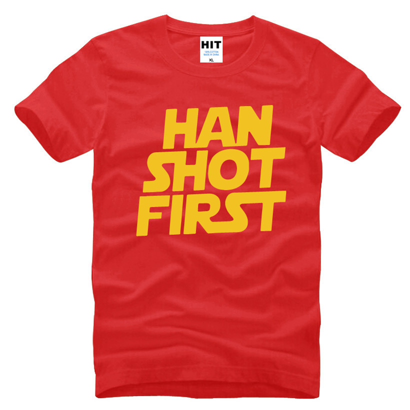 Фильм Звездные войны Хан выстрелил первым с принтом букв Для мужчин S Для мужчин футболка Мода 2016 г. новая футболка с короткими рукавами футб...