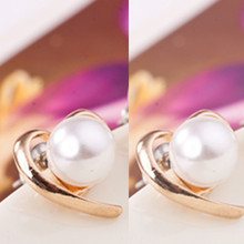 2016 New Fashion Jewelry Wholesale Factory Supplier Rose Gold Plated Pearl Stud Earrings For Women e0150
