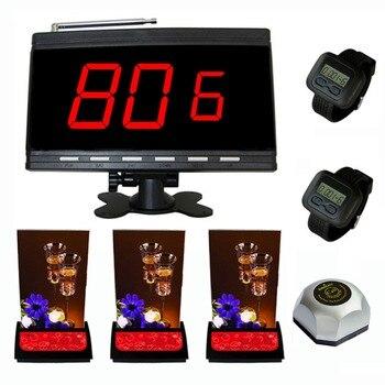Singcall sistema de servicio de paginación, campana de llamada Mesa Oficina, 3 unids beeper, 1 unid de negro display.2 PCs reloj receptores con 1 buscapersonas.