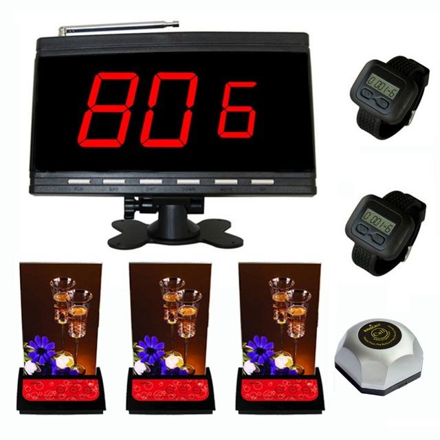 Sistema de serviço de paginação singcall, chamando sino mesa de escritório, 3 pcs bip, 1 pc de preto display.2 pcs receptores relógio com 1 pager.