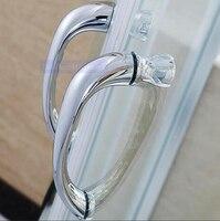 sliding glass door shower room knobs bathroom glass door handle hole distance 160mm