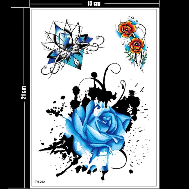 waterproof tattoo stickers bikini peony tattoo & body art flower rose tattoo fake water transfer tattoo temporary tatoo leg arm 5