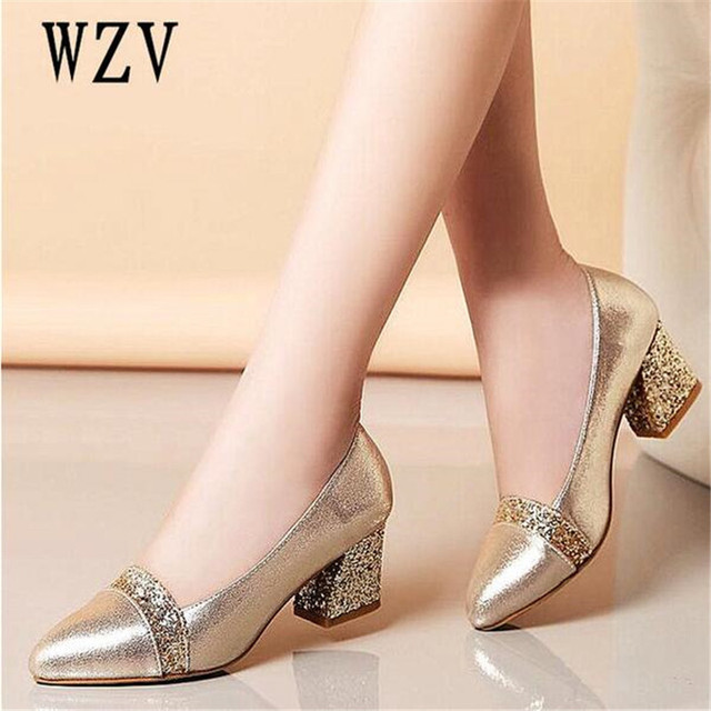 2018 Women Pumps Sweet Style Square High Heel sequins Pointed Toe Spring and Autumn Elegant Shallow Ladies Shoes Size 34-41 E058