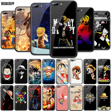 WEBBEDEPP ONE PIECE Monkey D Luffy Tempered Glass TPU Cover for Apple iPhone 6 6S 7 8 Plus 5 5S SE XR X XS 11 Pro MAX Case