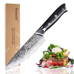 Sunnecko Premium 6.5 Chef's Knife Japanese VG10 Steel Core Blade G10 Handle with Stainless Steel Damascus Kitchen Knives