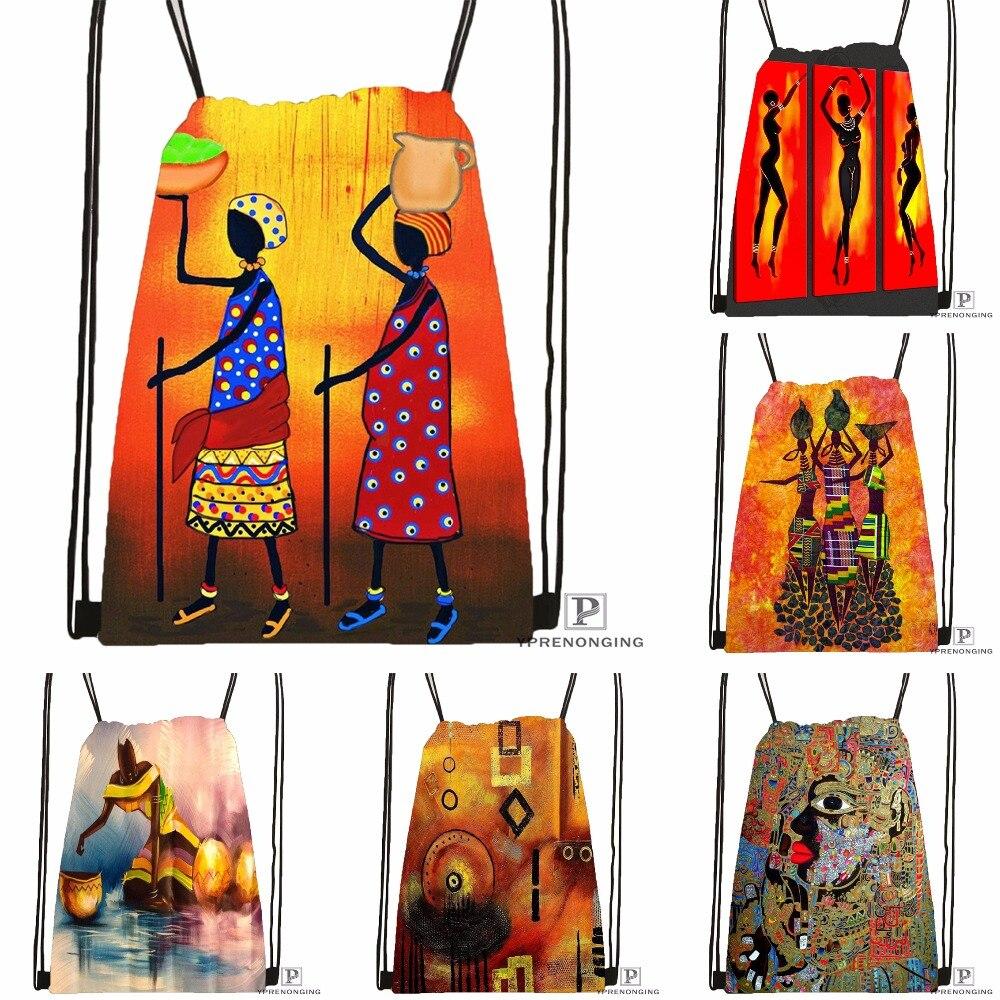 Custom ABSTRACT AFRICAN DANCERS Drawstring Backpack Bag Cute Daypack Kids Satchel (Black Back) 31x40cm#180531-03-20