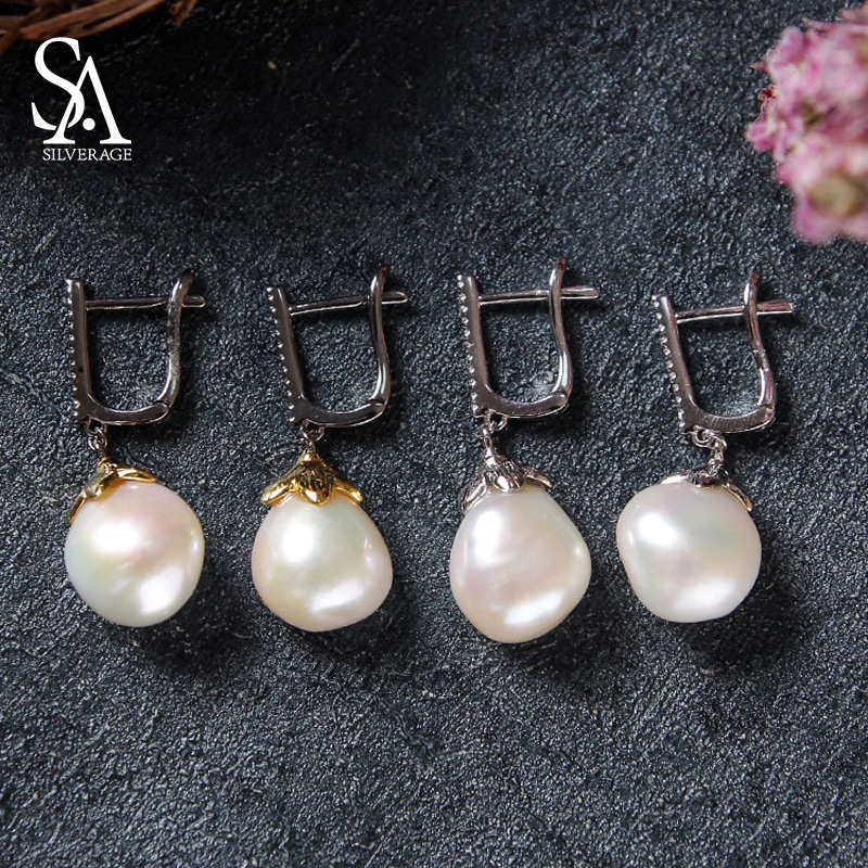 Baroque Earrings 2019 New S925 Earrings Fashion Trendy Jewelry Baroque Pearl 925 Silver Round Drop Earrings for Woman 925 Silver-in Earrings from Jewelry & Accessories    1