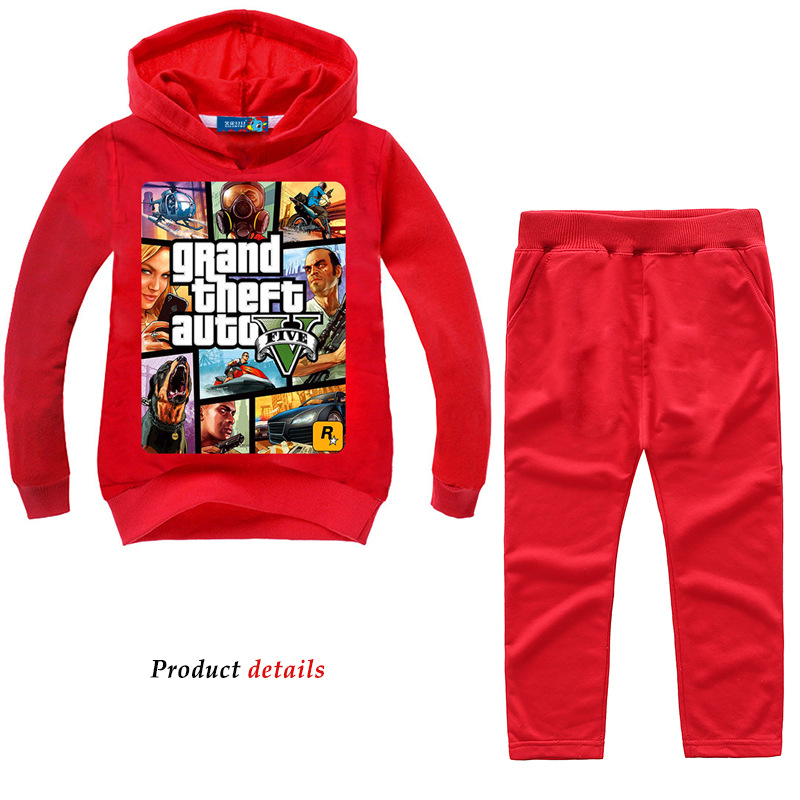 Image 2 - Z&Y 2 14Years Grand Theft Auto Gta V 5 Clothing Set Hoodie and Pants Set Toddler Boys Clothing Kids Tracksuit Sportsuit Outfit-in Clothing Sets from Mother & Kids