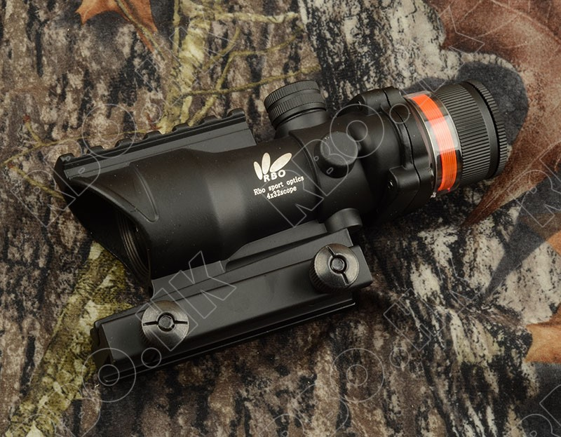 Tactical prism optics red fiber acog style 4x32 rifle scope with picatinny rail mount base hunting shooting red fiber M1543