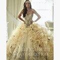Bordados de cristal Querida Vestidos Quinceanera 2017 Grande Ruffles Skirt Champagne Masquerade Bola Vestidos Doce 16 Vestido Q18