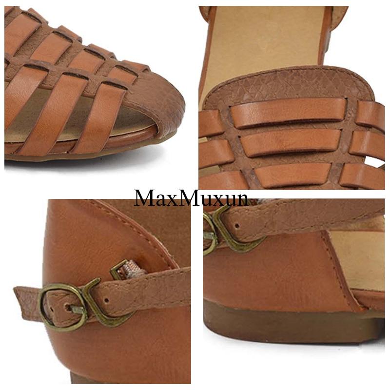 MaxMuxun Wanita Slingback Sandal Musim Panas Roma Ankle Strap Ditutup - Sepatu Wanita - Foto 5