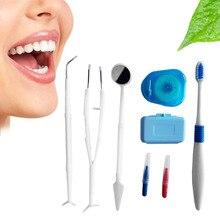 Assistência odontológica Dente Kit Escova Floss Stain Tongue Cleaner Dente Cuidados Com Os Dentes Whitening escova de Dentes Ortodôntico Interdental Escova new