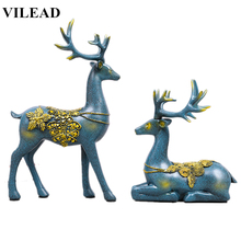 VILEAD 2pc/Set 12.2 Resin Deer Figurine Creative Statue Modern Elk Sculpture Vintage Home Decor for Dinning Room Office