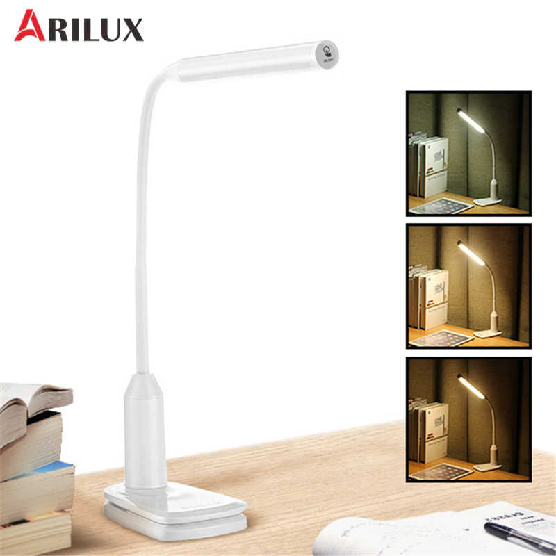 цена на ARILUX High Quality Flexible Clamp 6W LED USB Touch Dimmable Reading Table Light Clip On Adjustable Desk Lamps Indoor Lighting