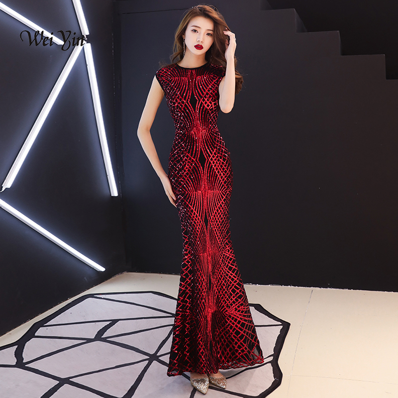 weiyin Wine Red Sequined Mermaid Evening Dresses See Through O Neck 2019 New  Arrival Floor Length Long Party Dress for Women -in Evening Dresses from ... 287ab36e6a11