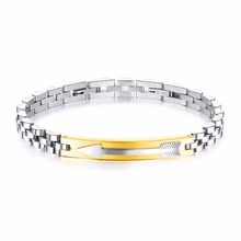 Man's Stainless Steel Elegant Color Gold Arrow Style Bracelet For Man Fashion Jewelry Friends' Birthday Gifts