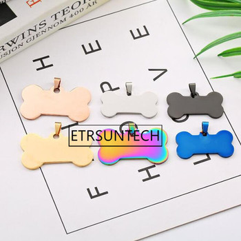 100pcs Stainless Steel Bone Pendants Pet ID Tag Address Name Tel Tag Cat Dog Puppy Charms Blue Black Gold Color