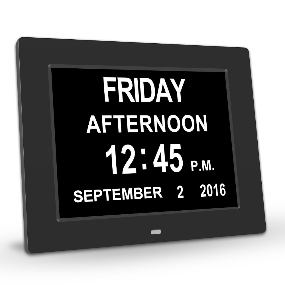 PINWEI Day Clock Digital Calendar with Extra Large Non-Abbreviated Date Time Display for Seniors Memory Loss People Dementia