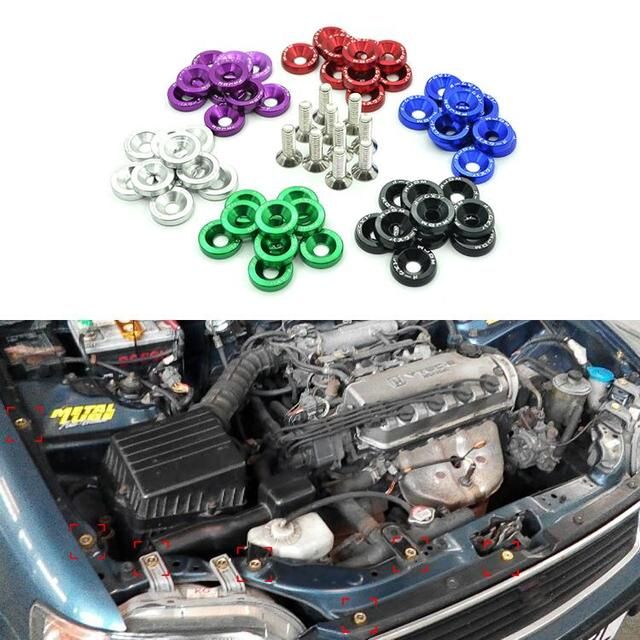 10PCS M6 x 20 Car Styling Universal Modification JDM Password Fender Washer License Plate Bolts 6 Colors Auto Accessories