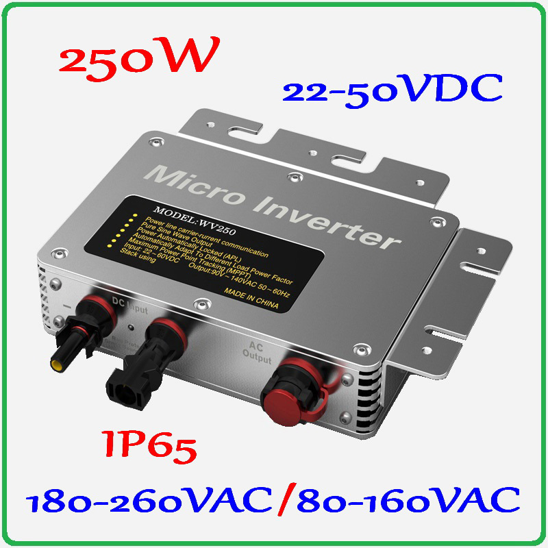 250W Grid Tie Micro Inverter 22-50V DC to AC 80-160V or 180-260V Pure Sine Wave Output 6-grade MPPT Solar Power Inverter 22 50v dc to ac110v or 220v waterproof 1200w grid tie mppt micro inverter with wireless communication function for 36v pv system
