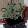 Natural A Grade Jade Bangles,Light Green With Flower,Birthday Present,Women's Festival,Take owner good luck.Free Shipping