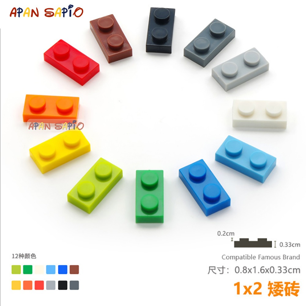 50pcs/lot DIY Blocks Building Bricks Thin 1X2 Educational Assemblage Construction Toys for Children Compatible With Brand