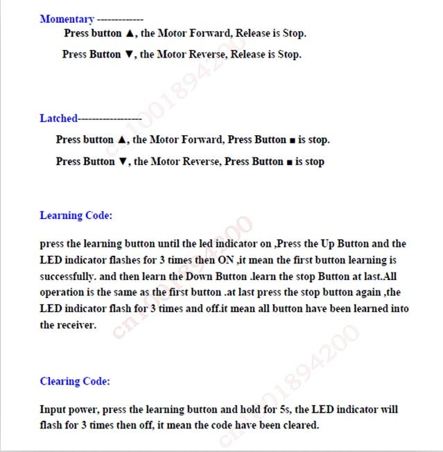 HTB1CHjNHXXXXXbpXpXXq6xXFXXXp - DC 24V 40A 2CH Motor Remote Control Switch Motor Forwards Reverse Up Down Stop Door Window Curtain Wireless TX RX Limited Switch