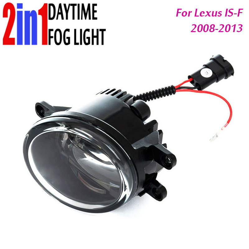 New Led Fog Light with DRL Daytime Running Lights with Lens Fog Lamps Car Styling Led Refit Original Fog for Lexus IS-F