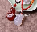 100% Real White red Natural Agate Carved Cute Fox Amulet Lucky Pendant Necklace Fashion Blessing Pendants Lover's Jewelry