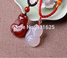 100% Real White red Natural Carved Cute Fox Amulet Lucky Pendant Necklace Fashion Blessing Pendants Lover's Jewelry