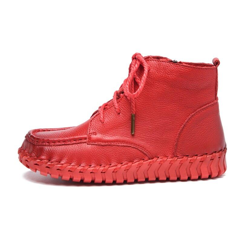 MVVJKE nowy projekt buty do kostki ze skóry naturalnej dla kobiet w stylu Vintage buty w stylu casual ręcznie skóry wołowej miękkie płaskie krótkie buty kobiet w Buty do kostki od Buty na  Grupa 2