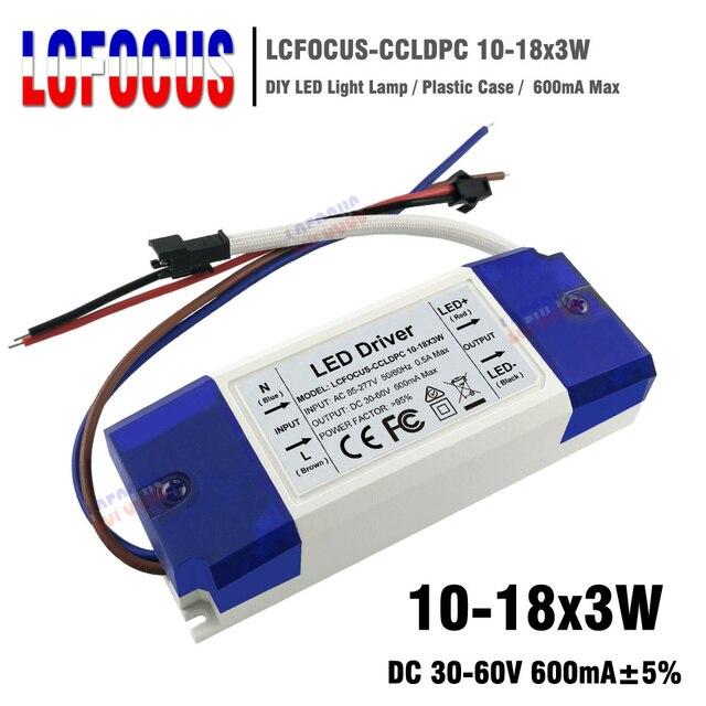 10-18x3W Controlador LED corriente constante 600mA 30 36 39 45 48 54 W transformador de iluminación fuente de alimentación para DIY foco de la lámpara