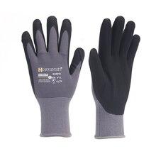 15 калибровочных нейлоновых ПУ нитриловых защитных покрытий рабочие перчатки с покрытием ладонной части механика рабочие перчатки M/L