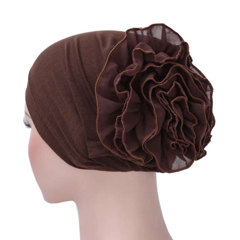 Women Hijabs Muslim Chiffon Flower Ruffle Chemo Hat Turban Headscarf Cap Ladies Hijab Stretch Head Wrap Adult Wrap Cap