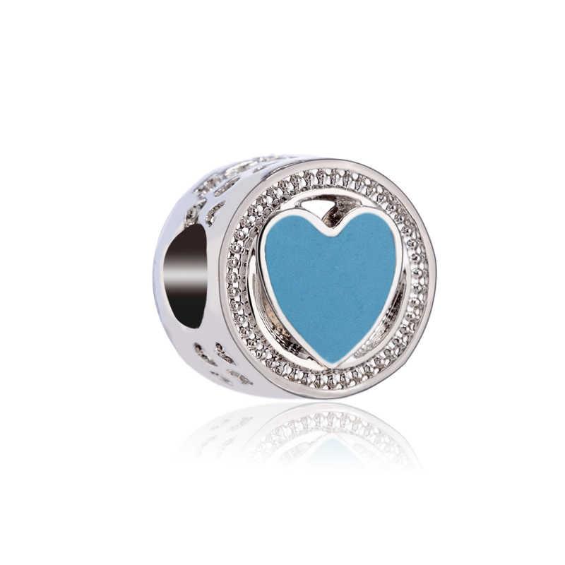 Color azul cielo búho de cristal corona corazones flores granos DIY Fit Pandora Charms pulseras y brazaletes para mujeres de verano baratija