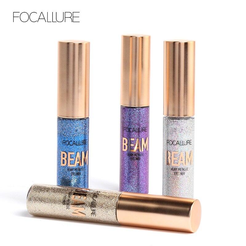 Focallure líquido Glitter Eyeliner lápices blanco oro Color brillante Shimmer Eye Liner maquillaje de la pluma