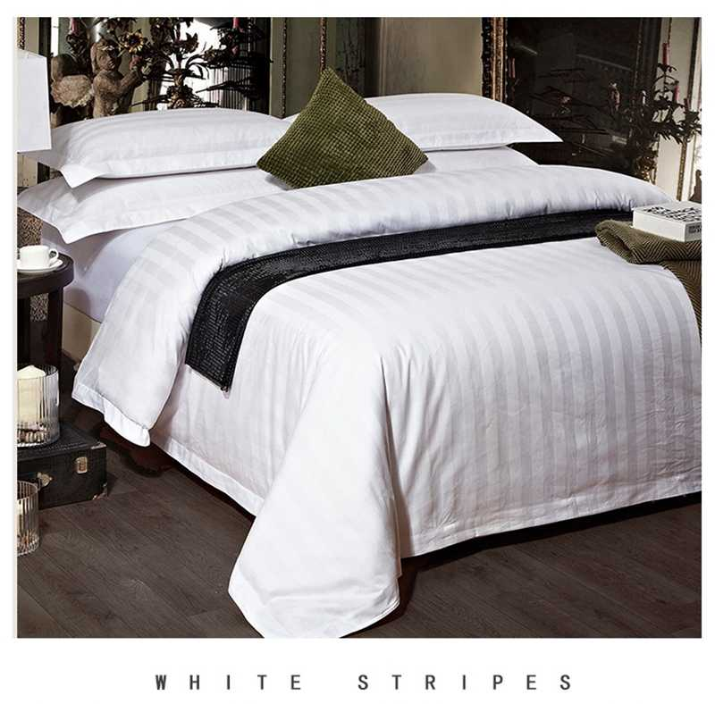Wholesale White Striped 3/4pcs Bedding Sets Duvet Cover Bedspread Pillowcase King Queen Twin Size for Home/Hotel (Drop Shipping)