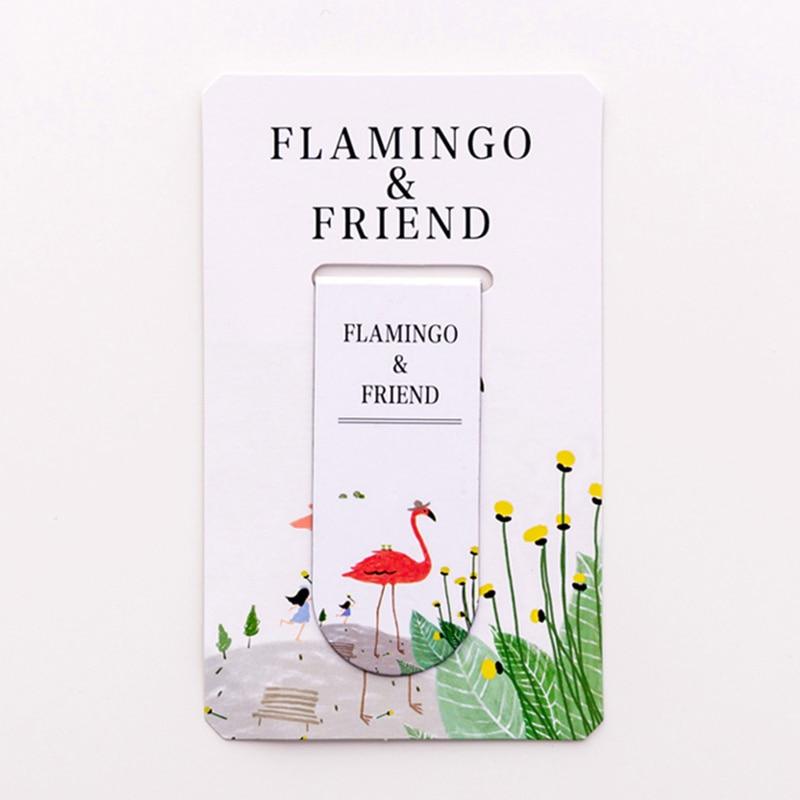 Купить с кэшбэком 48 pcs/Lot Nice flamingo magnetic bookmarks  Cartoon magnet book page marker Office School supplies marcapaginas FC516
