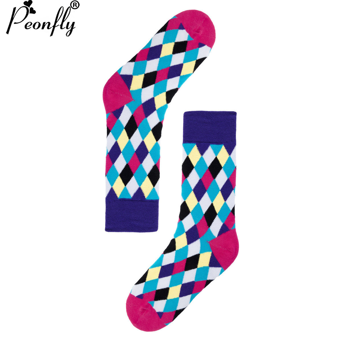 PEONFLY USA(6-10) long dress high New Pattern Color box Funny Socks men women Socks happy Lovers Socks Male Full Cotton
