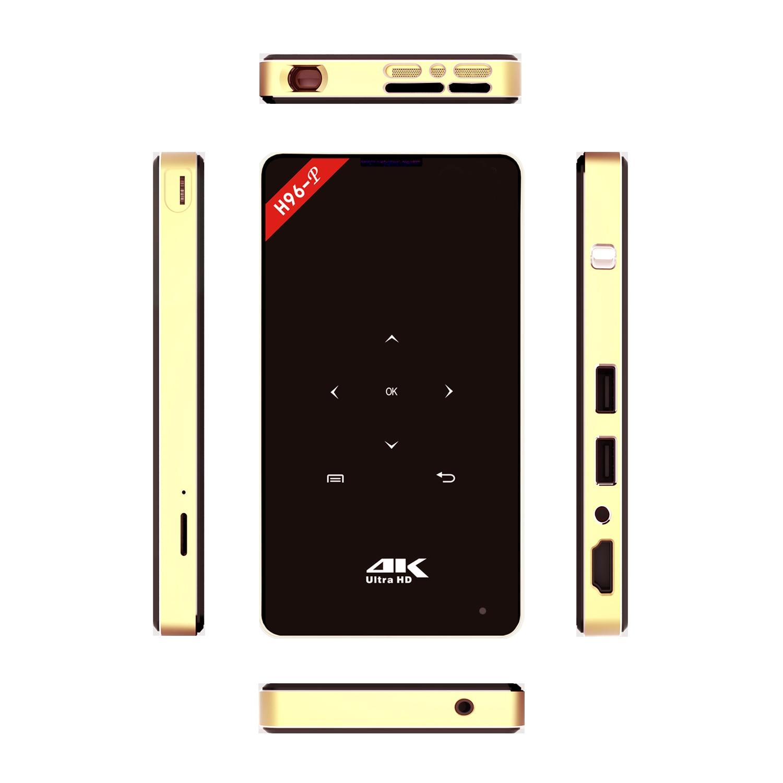 Android 6.0 H96-P Smart TV Box Mini Wireless Portable DLP Projector DLP 2G / 16G ROM 5G WiFi HDMI HD Network Video Player p8 smart mini dlp projector gold