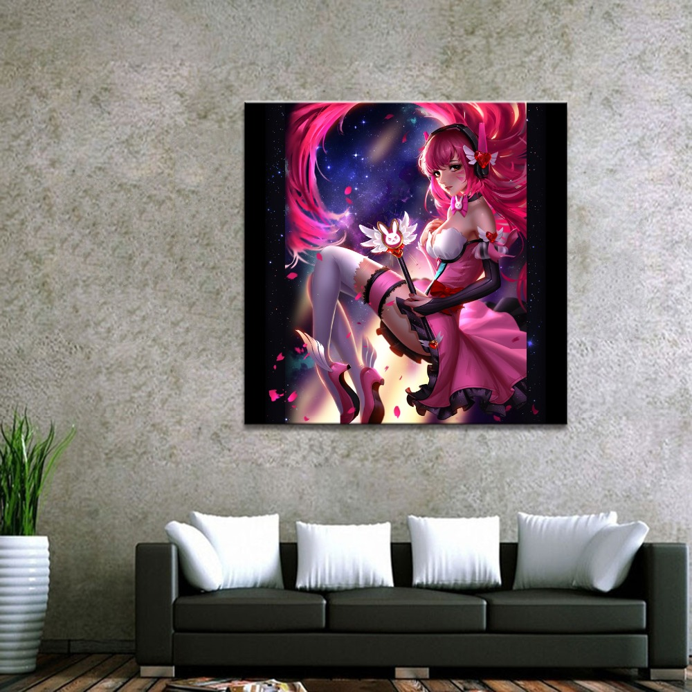 Home Decor Canvas Overwatch D.Va Game 1 Piece Anime Sexy Girl Art Poster Prints Picture Wall Decoration Painting Wholesale