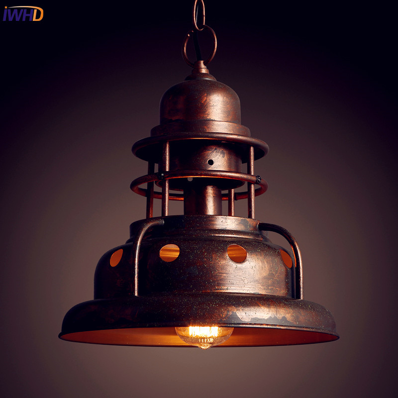IWHD American Loft Style Vintage Pendant Lights Fixtures Bar Restaurant Edison Industrial Lamp Home Lighting Hanging Light american retro pendant lights luminaire lamp iron industrial vintage led pendant lighting fixtures bar loft restaurant e27 black