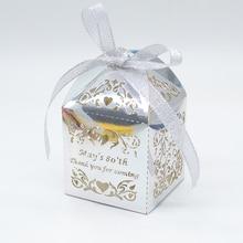 Любовь лозы Великолепная лазерная резка, для свадьбы маленькая коробка для торта и конфет с лазерным именем