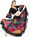 New 2016 Hot sale Gypsy Bohemia Full Circle Belly Dance Red Pink Spanish Long Maxi Skirts For Women