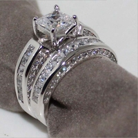 Victoria Wieck Real Solitaire 5mm Simulated Diamant Women Wedding Ring Set Engagement Band Free Shipping