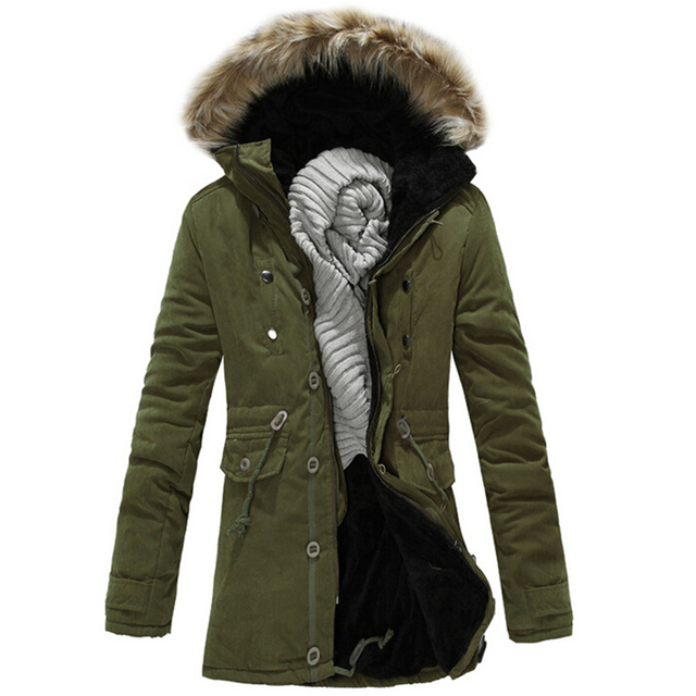 2017 hot sale warm british style men's long winter jacket male fur hooded casual wear overcoat M-3XL AYG165